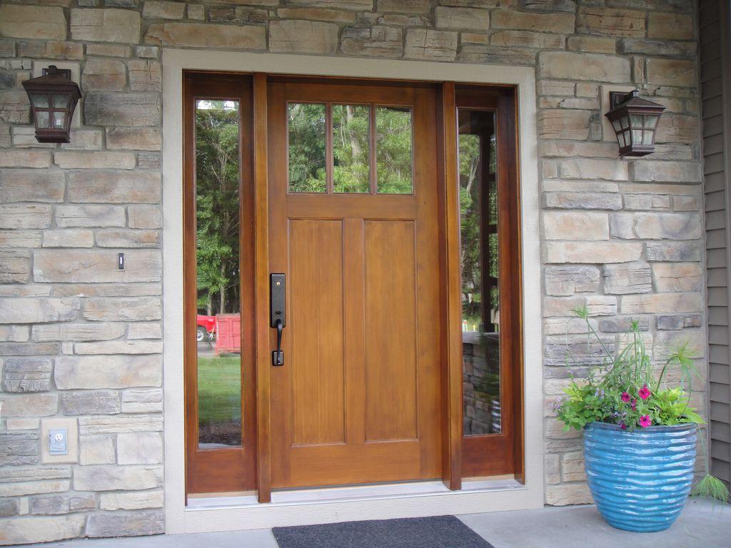 Craftsman Front Door with Glass panel door, Pathway, picture window, exterior stone floors