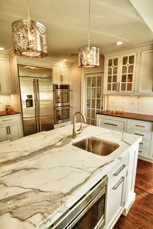 Contemporary Kitchen with full backsplash, Inset cabinets, French doors, Large Ceramic Tile, can lights, Undermount sink