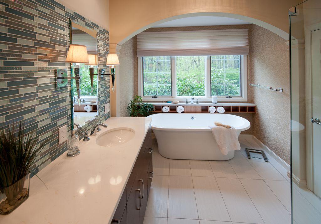 "Contemporary Full Bathroom with Corian- Designer White, Roman shade, Paint, Signature hardware - 72"" shai bateau acrylic tub"
