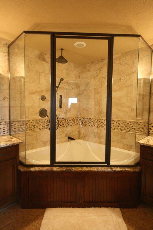 Craftsman Master Bathroom with Ms international - golden sienna travertine, Kohler - white proflex corner bath, Paint