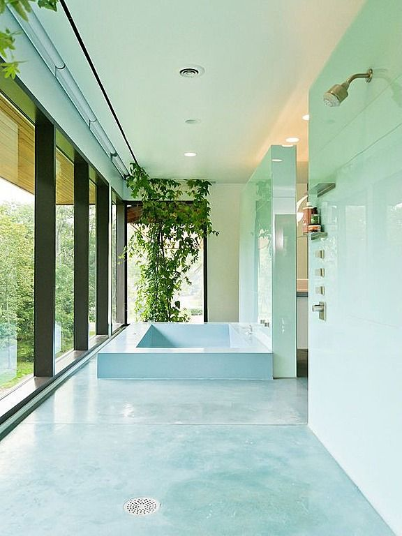 Contemporary Master Bathroom with picture window, Standard height, simple marble floors, drop in bathtub, Shower, Paint