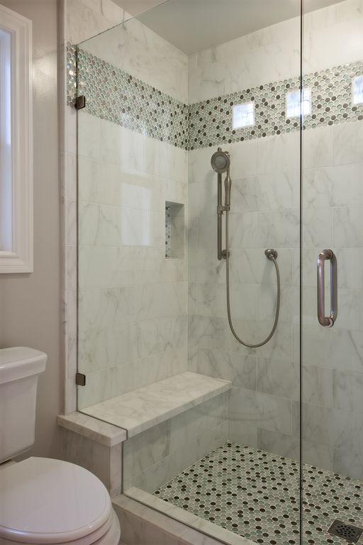 Contemporary 3/4 Bathroom with Tile strip, Shower, frameless showerdoor, Handheld showerhead, Standard height, Bar shower