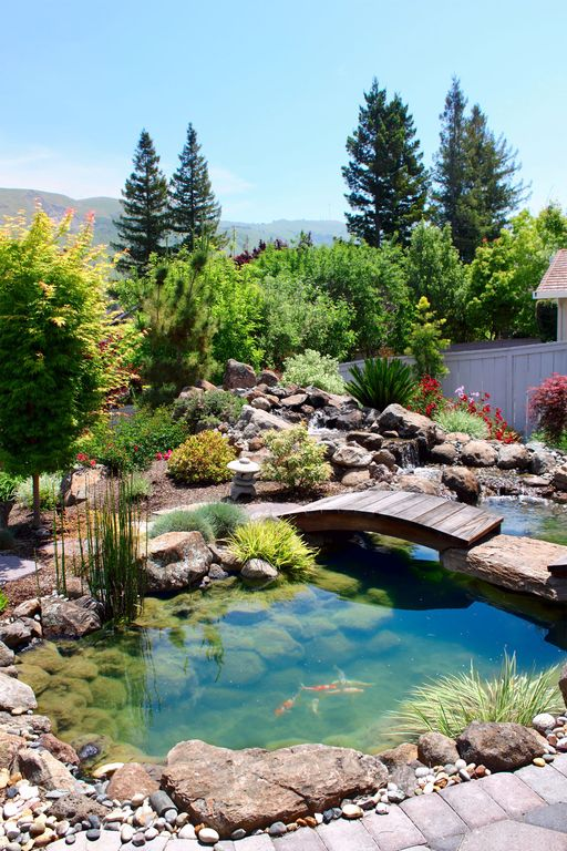 Asian Landscape/Yard with exterior stone floors, Fence, Pond, Pathway, Fountain