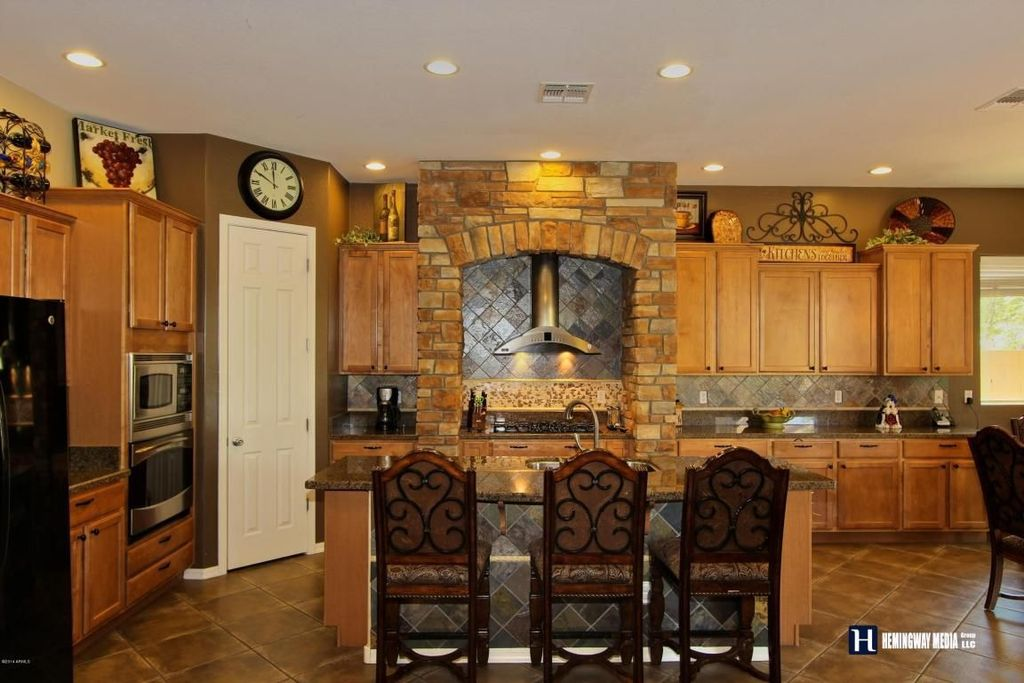 Country Kitchen with L-shaped, Stone Tile, Raised panel, Inset cabinets, slate tile floors, Flat panel cabinets, Slate Tile