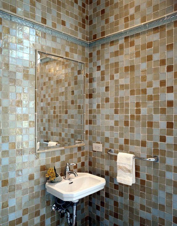 Modern Powder Room with High ceiling, Wall Tiles, Powder room, Undermount bathroom sink