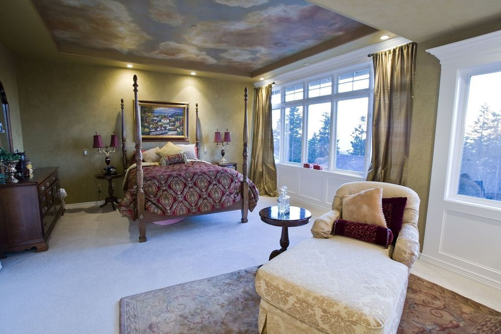 Eclectic Guest Bedroom with Wainscotting, can lights, Standard height, Carpet, picture window