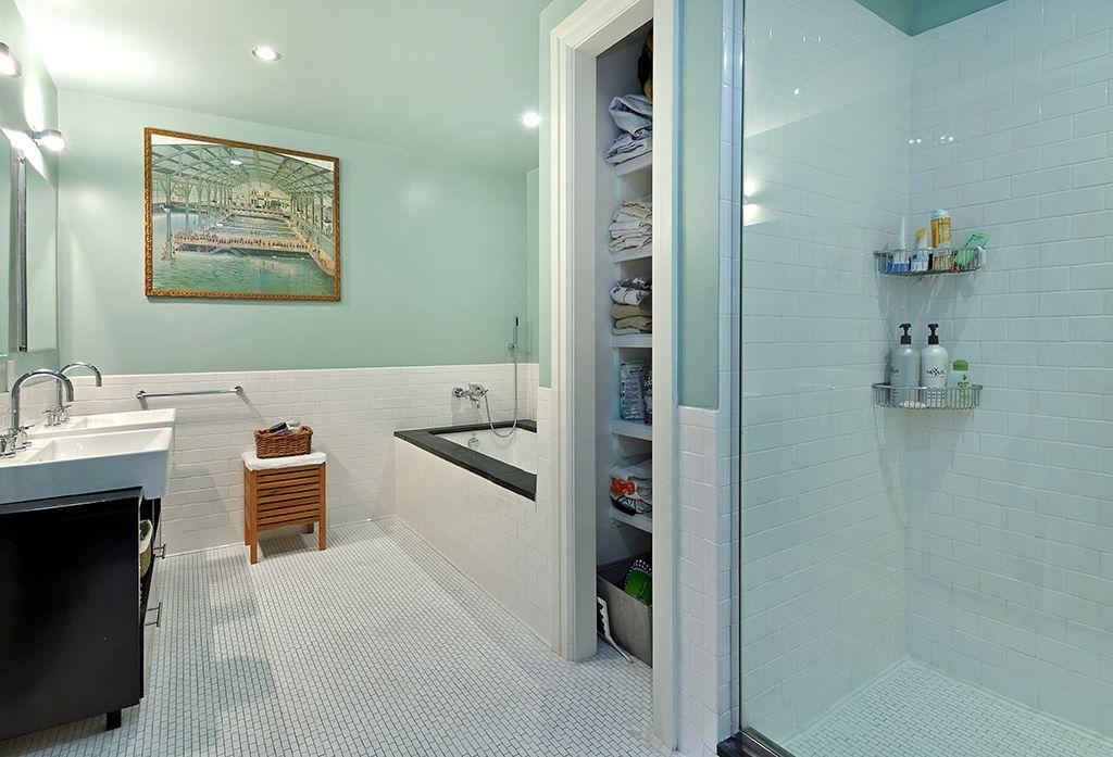 Cottage Master Bathroom with ceramic tile floors, Bathtub, Vessel sink, Flush, drop in bathtub, Wall Tiles, Standard height