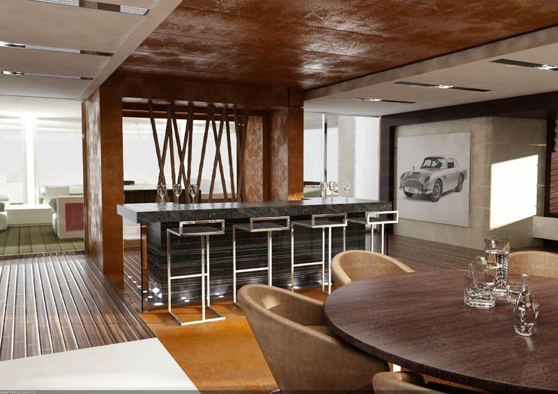 Contemporary Bar with sliding glass door, Built-in bookshelf, Standard height, Hardwood floors