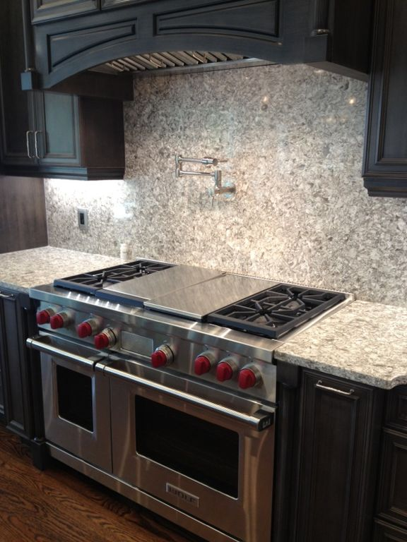 """Contemporary Kitchen with Wolf 48"""" Dual Fuel Range, Standard height, double oven range, full backsplash, One-wall, Quartz"""