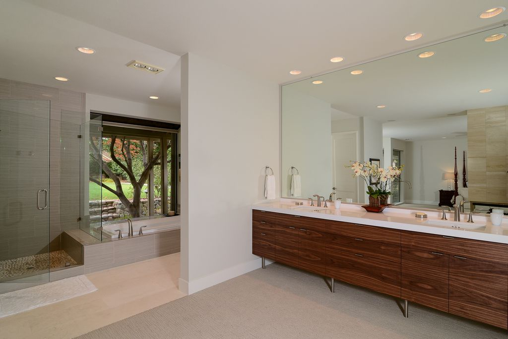Contemporary Master Bathroom with Wall Tiles, Bathtub, Master bathroom, Double sink, Shower, Standard height, Undermount sink