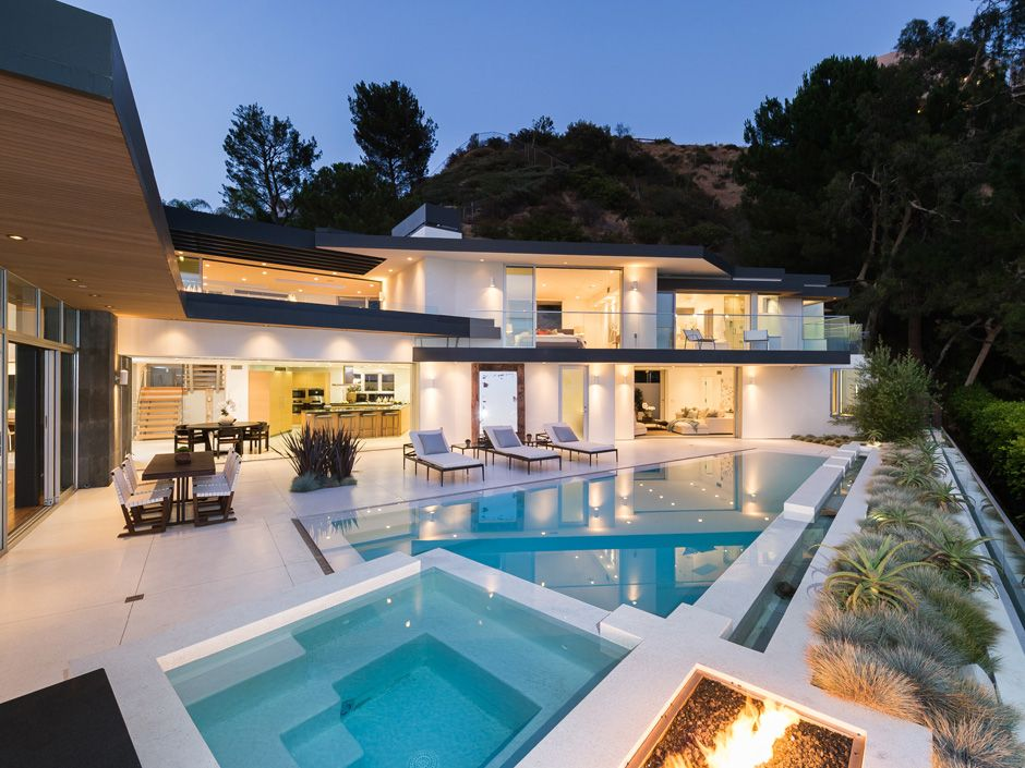 Modern Swimming Pool with Pool with hot tub, Fire pit, Raised beds, Outdoor kitchen, exterior concrete tile floors