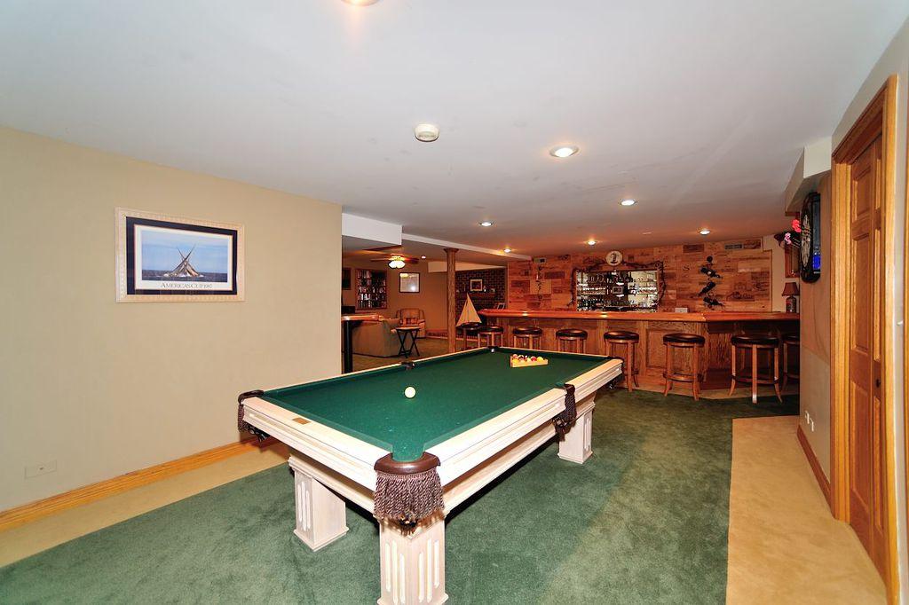 Craftsman Game Room with can lights, Carpet, specialty door, Standard height