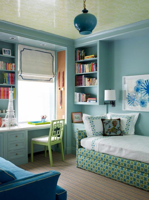 Contemporary Kids Bedroom with Built-in bookshelf, bedroom reading light, West elm overlapping squares chair, Crown molding