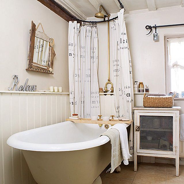 Cottage Full Bathroom with Full Bath, Bathtub, shower bath combo, Wainscotting, Clawfoot, curtain showerdoor, Flush, Casement