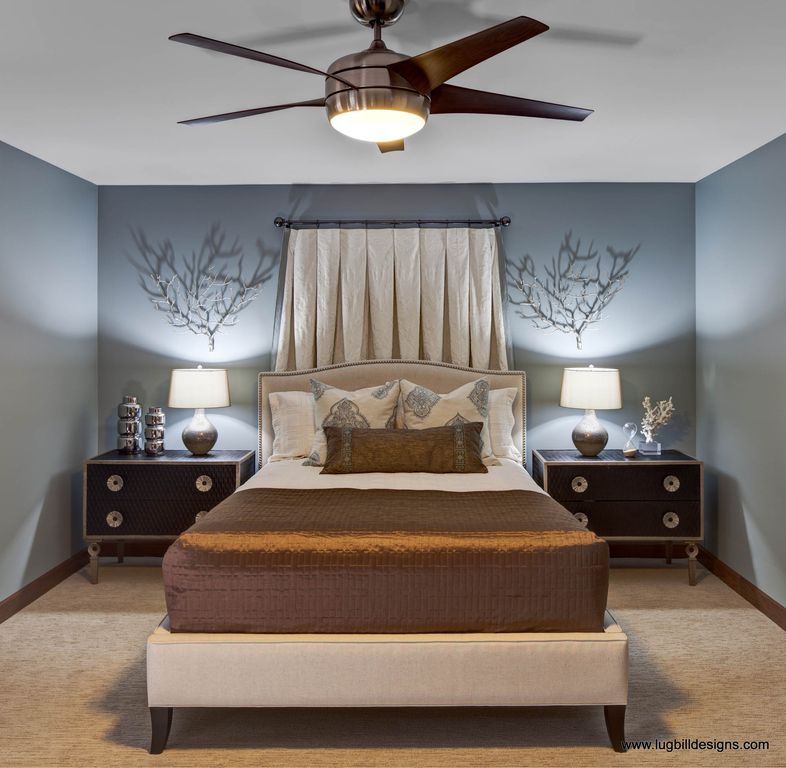 Contemporary Master Bedroom with Paint, Henredon tyler bed, Ceiling fan, Carpet, Standard height, Henredon night stand