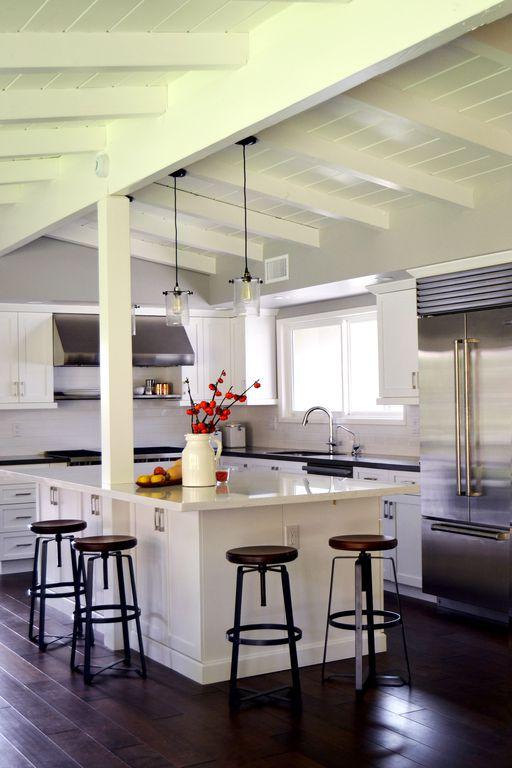 Cottage Kitchen with Paint 3, Corian counters, High ceiling, Breakfast bar, Pendant light, Wilsonart - designer white d354sl