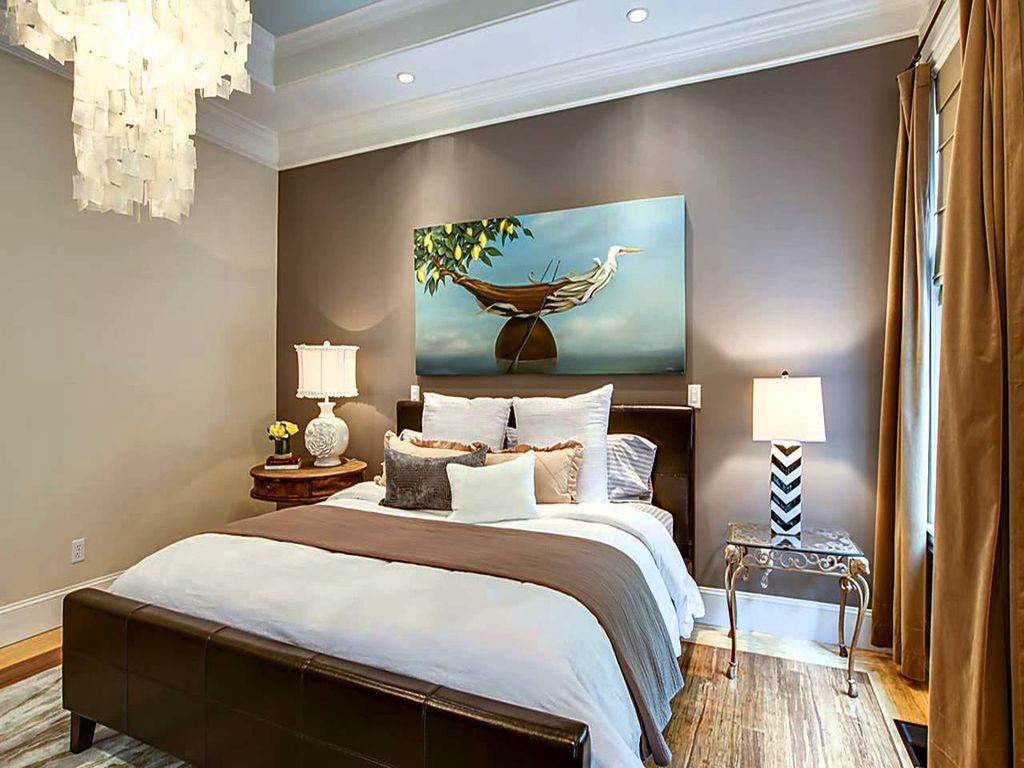 """Eclectic Guest Bedroom with IMAX Chevron Chandler 36"""" H Table Lamp with Rectangular Shade, Hardwood floors, High ceiling"""