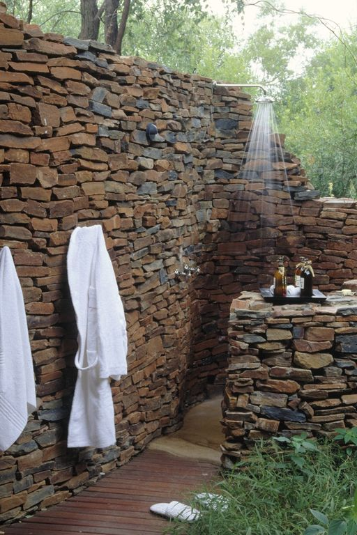 Rustic Landscape/Yard with Outdoor shower, Stacked stone wall