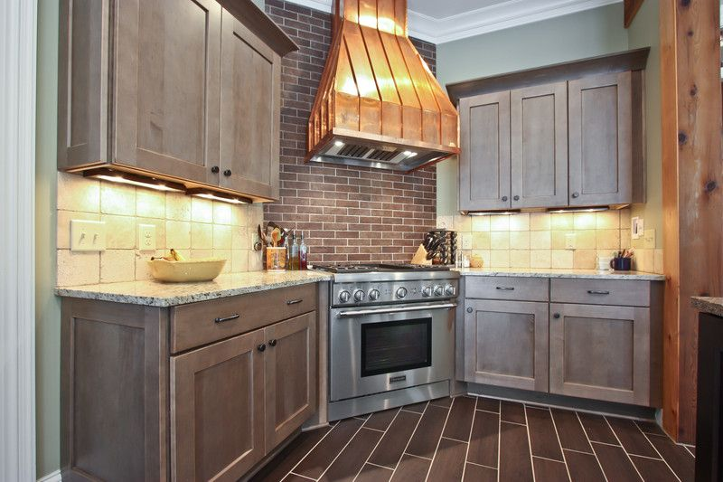 Traditional Kitchen with Flush, Simple granite counters, full backsplash, Custom hood, Crown molding, can lights, Stone Tile
