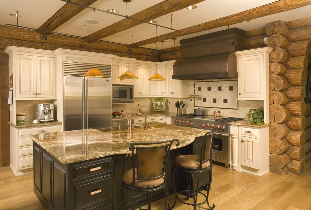 Rustic Kitchen with built-in microwave, Exposed beam, full backsplash, Built In Refrigerator, Wall Hood, double oven range