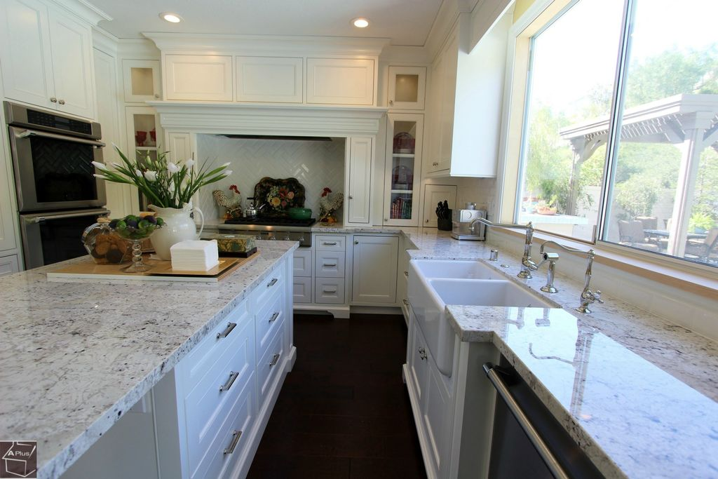 Traditional Kitchen with full backsplash, Flush, double wall oven, Glass panel, Fireclay tile white gloss, Inset cabinets