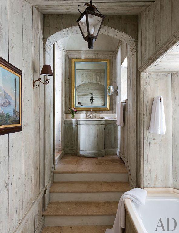 Cottage Master Bathroom with Painted wood, Corian counters, Bathtub, Master bathroom, Pendant light, partial backsplash