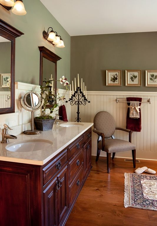 Traditional Master Bathroom with Hardwood floors, Pottery barn mercer double towel bar, Paintable white beadboard, Paint 1