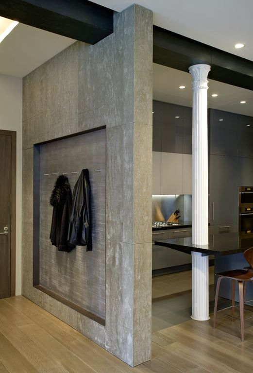 Contemporary Entryway with Exposed beam, Hardwood floors, Standard height, flat door