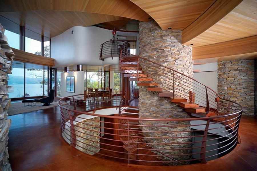 Contemporary Staircase with Spiral staircase, can lights, Standard height, Hardwood floors