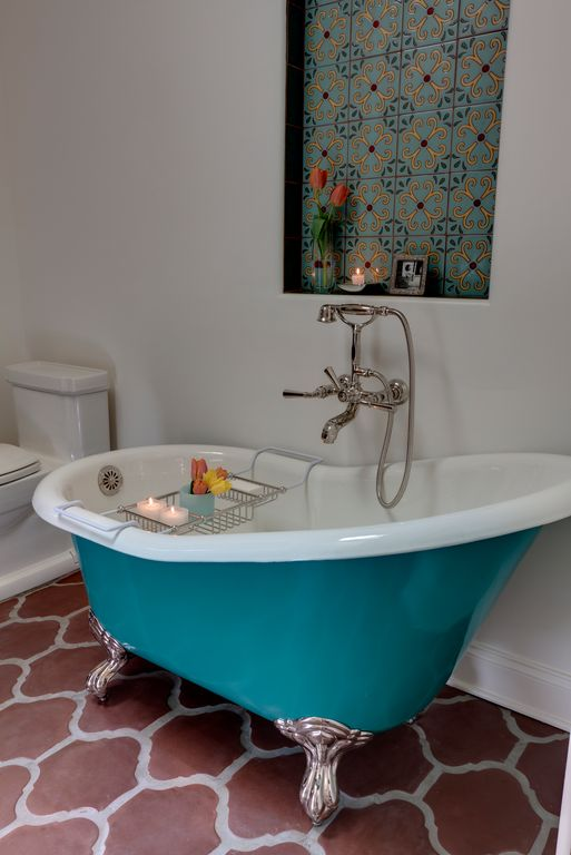 Eclectic Master Bathroom with penny tile floors, Ove decors clawfoot 66'' acrylic classic bathtub with faucet, Clawfoot