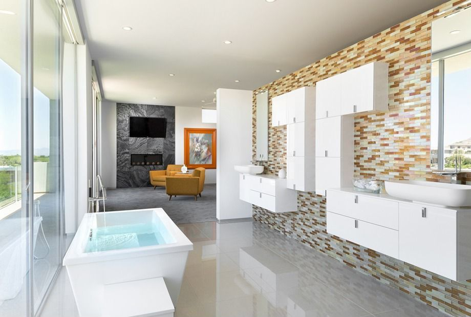 Contemporary Master Bathroom with Flush, picture window, Standard height, Vessel sink, Bathtub, European Cabinets, Wall Tiles