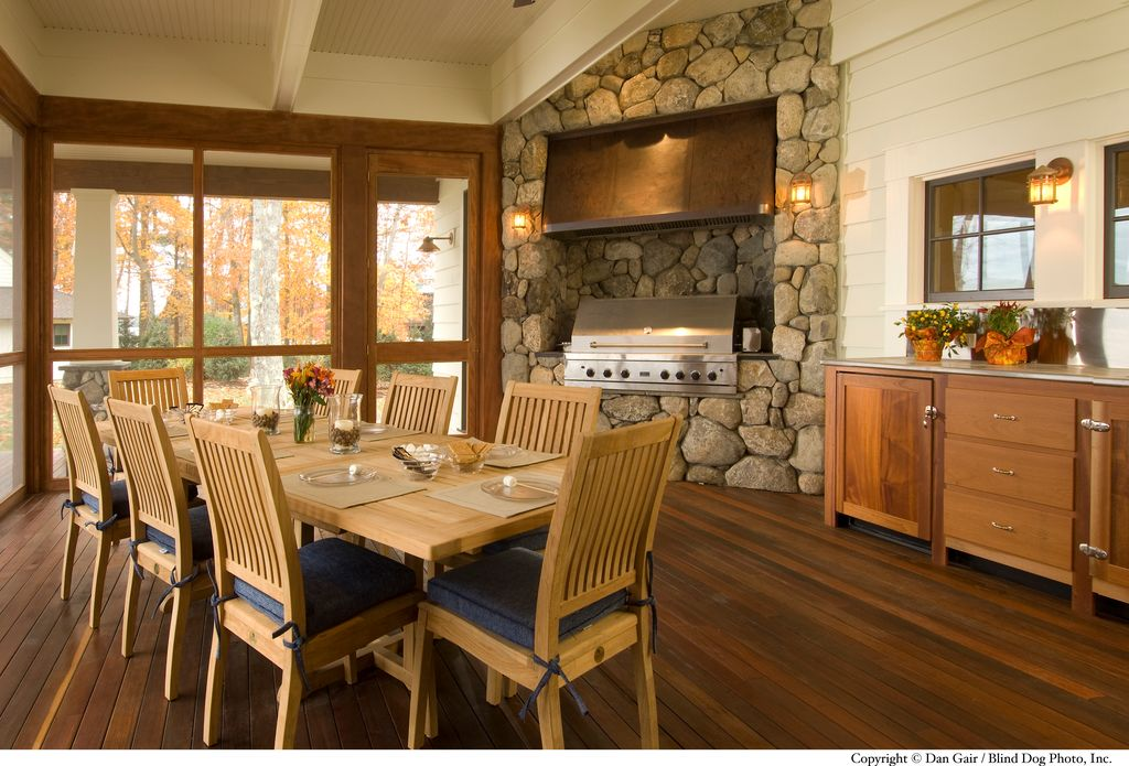 Craftsman Porch with French doors, picture window, Outdoor kitchen, Thos. baker veranda side chair, Screened porch, Paint 1