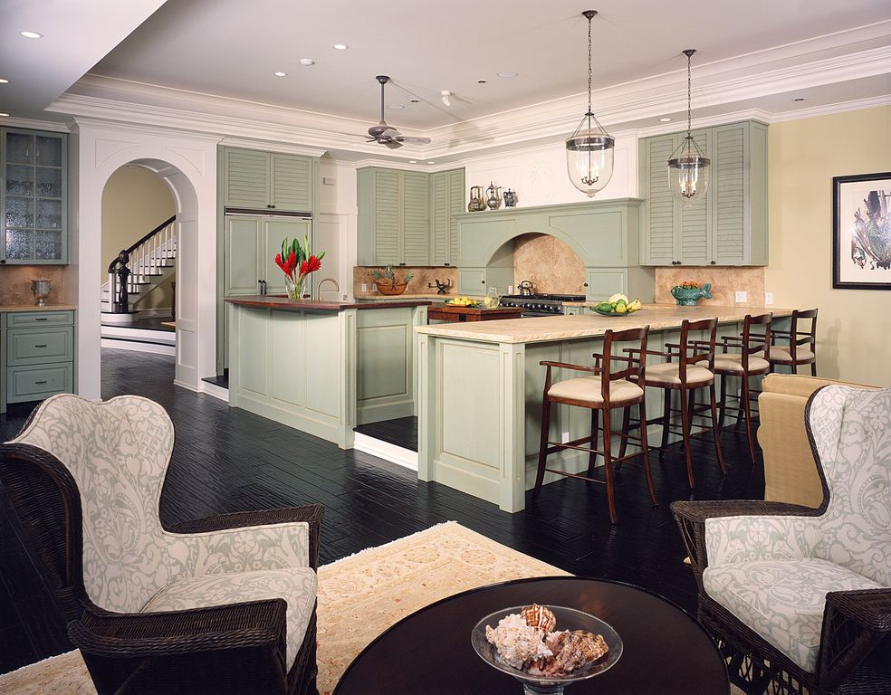 Traditional Kitchen with Pendant light, Livex Lighting Jefferson Brushed Nickel Pendant Light, Crown molding, full backsplash