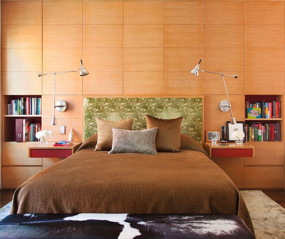 Contemporary Master Bedroom with Built-in bookshelf, Hardwood floors