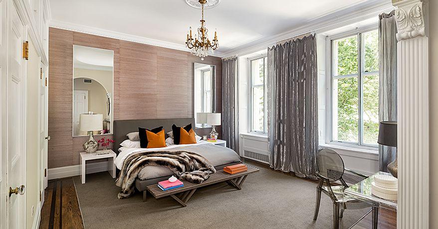 Contemporary Master Bedroom with Crown molding, Casement, Chandelier, Hardwood floors, Standard height, specialty door