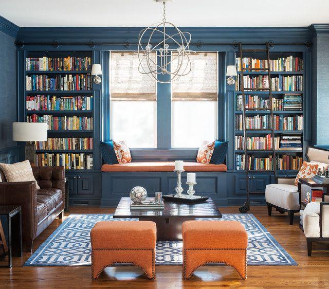Contemporary Library with Safavieh handmade moroccan cambridge navy wool area rug (8' x 10'), picture window, Hardwood floors