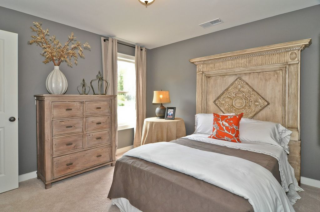 Modern Guest Bedroom with double-hung window, Paint, Carpet, Restoration Hardware 19th C. French Carved Door Headboard