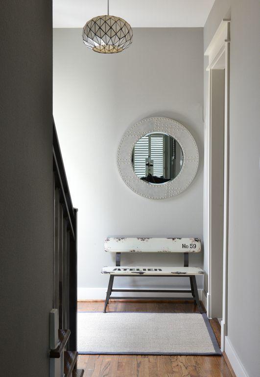 Modern Entryway with Capiz orb pendants, Pendant light, Hardwood floors, Urban trends home and garden accents mirror