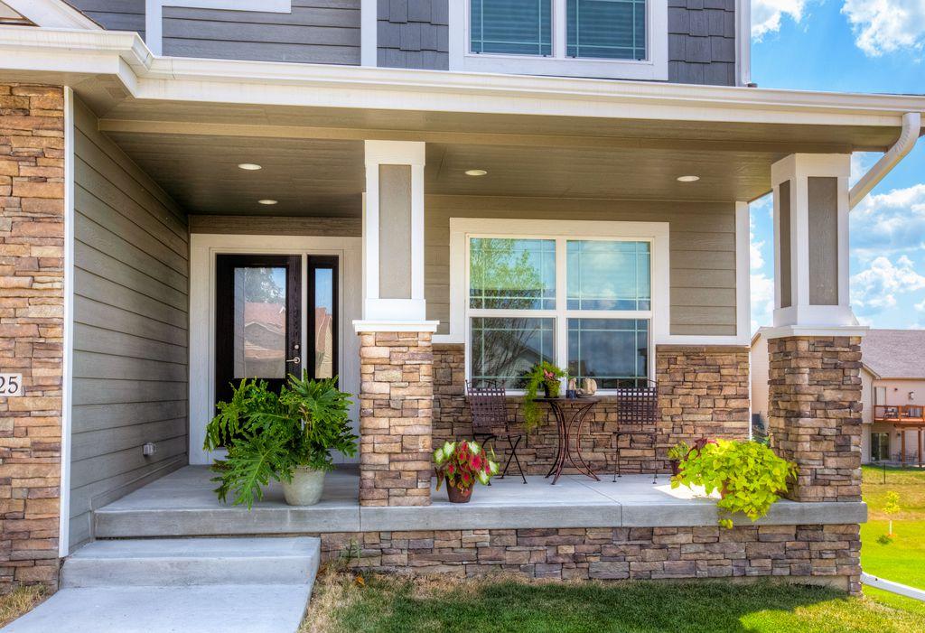 Craftsman Porch with Pathway, Cast Aluminum Dark Brown Bistro Set, Outdoor cafe furniture, Glass panel door, Screened porch