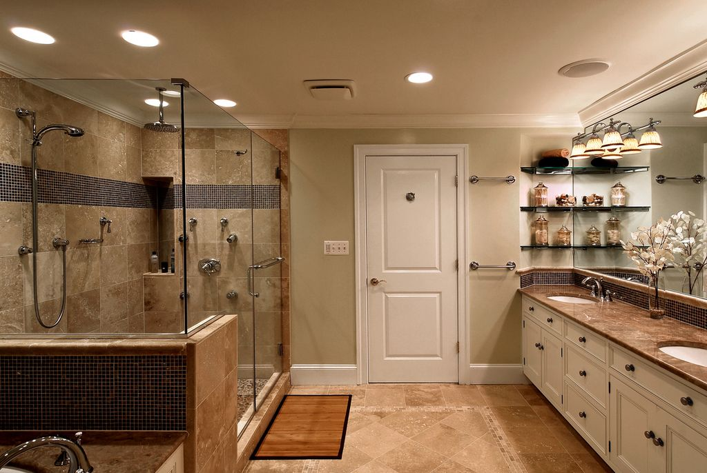 Traditional Master Bathroom with full backsplash, Inset cabinets, can lights, drop in bathtub, Undermount sink, Rain shower