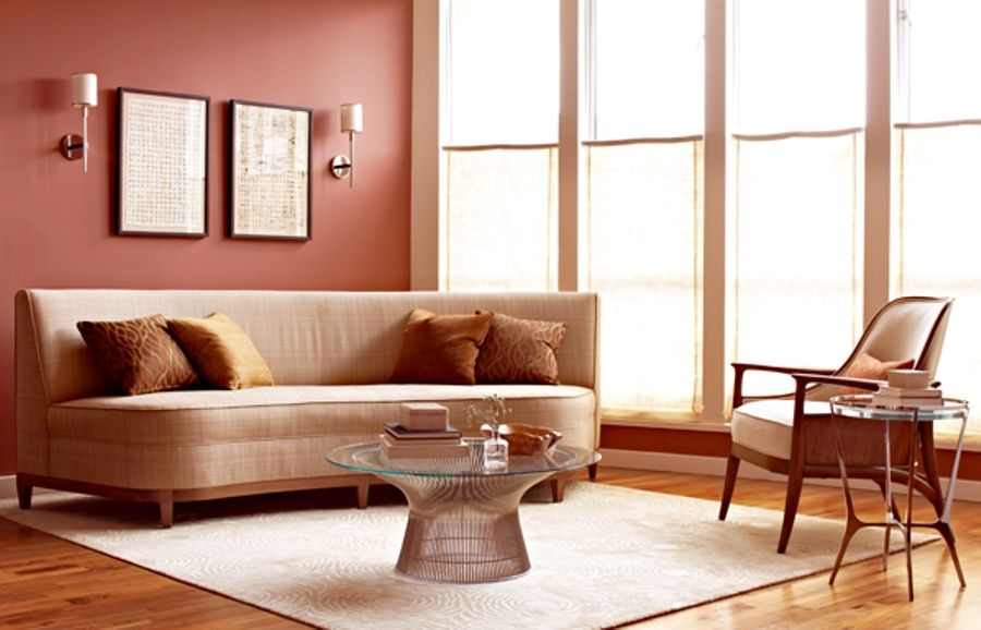 Contemporary Living Room with Wall sconce, Standard height, Hardwood floors