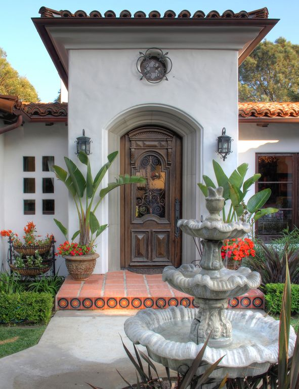 Eclectic Front Door with Doors by Decora Old World Door Collection, Glass panel door, exterior tile floors, Pathway, Fountain