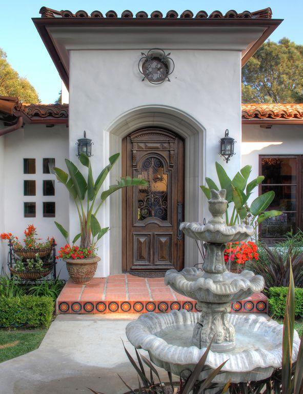 Eclectic Front Door with exterior concrete tile floors, Bella 2 tierra high fired handcrafted decorative floor tile, Fountain
