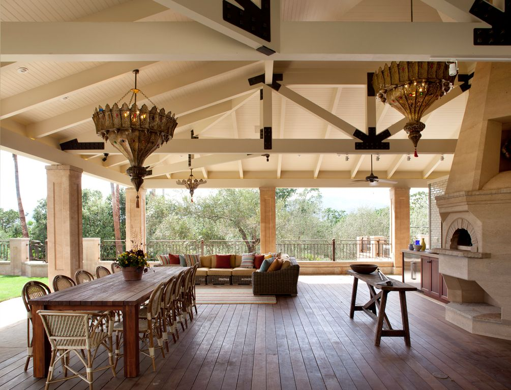 Traditional Porch with Deck Railing, outdoor pizza oven, Screened porch