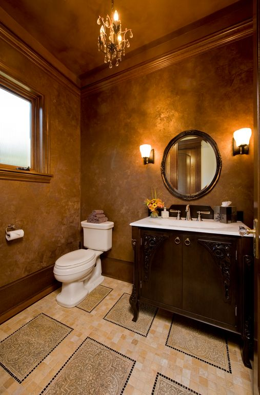 Traditional Powder Room with Crown molding, European Cabinets, ceramic tile floors, Corian counters, Flush, Paint, Casement