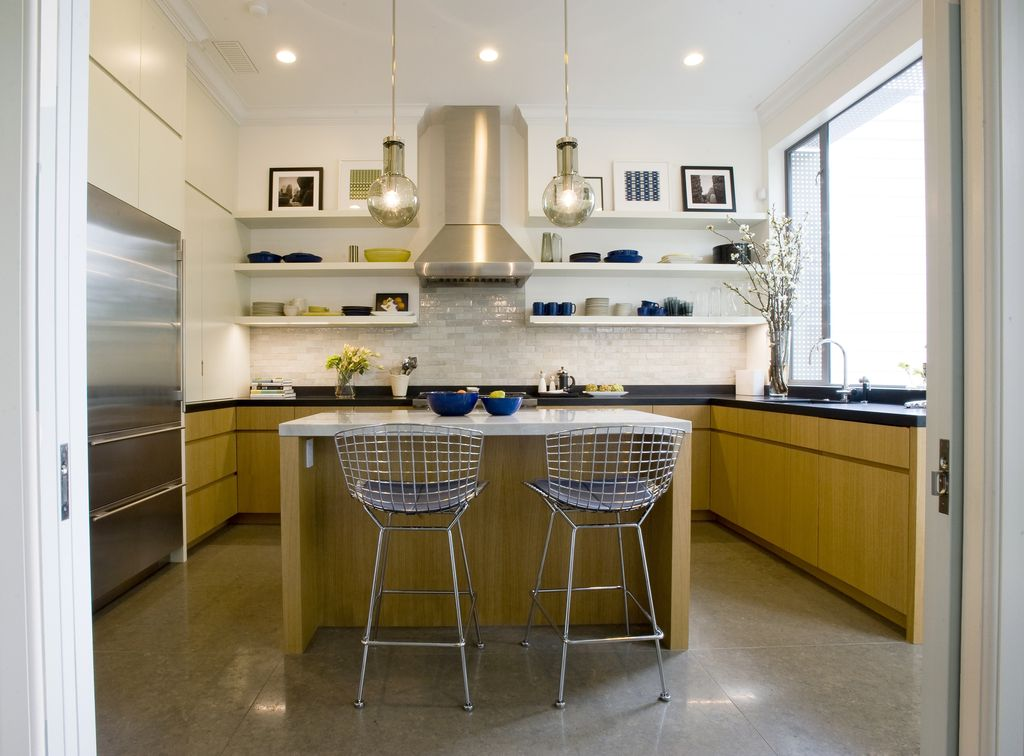 Contemporary Kitchen with Large Ceramic Tile, Flush, Built In Refrigerator, Soapstone counters, Undermount sink, can lights