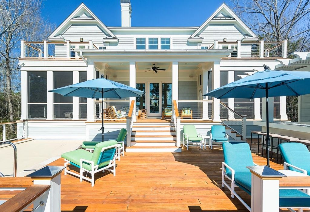 Traditional Deck with Deck Railing, Fence, Paint 2, picture window, Paint 1, French doors