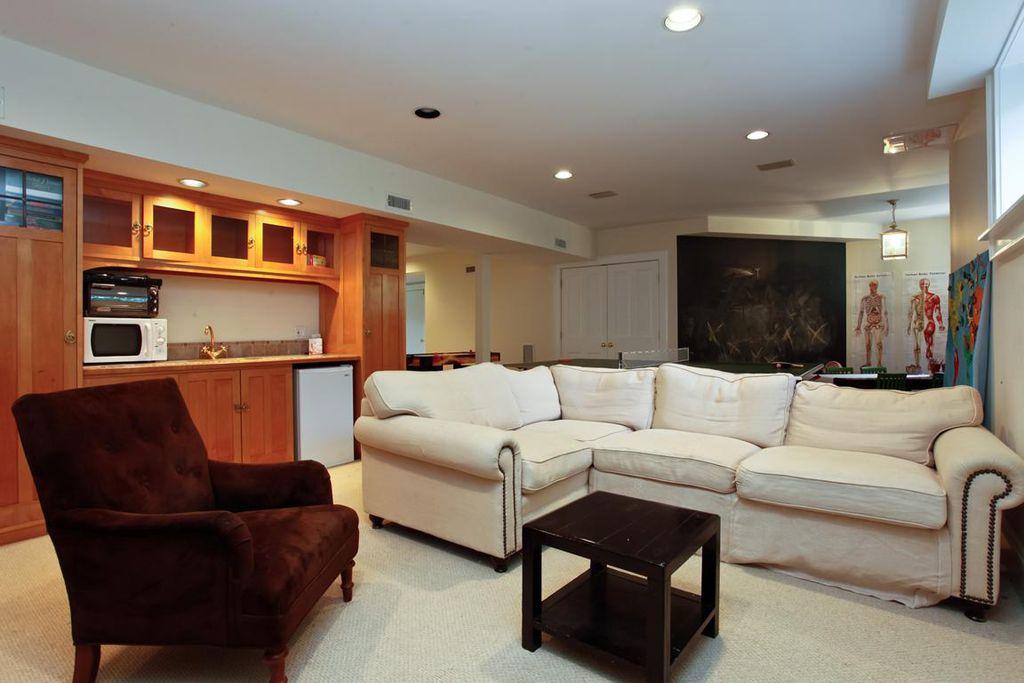 Modern Basement with Pendant light, can lights, Built-in bookshelf, specialty window, Glass panel door, Columns, flush light
