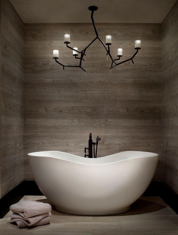 Contemporary Master Bathroom with Stikwood adhesive wood paneling, Wood floors, Newgrowth candelabra