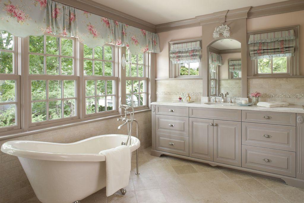 Kids Bathroom with Claw foot tub, Paint, Floral valance, Undermount sink, tile backsplash, Clawfoot tub, Paint 2